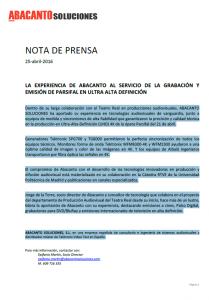 Nota Prensa Parsifal 4K Teatro Real