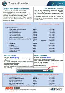 TEKTRONIX TIPS&TRICKS 136 - Ultimas versiones de Firmware - ES